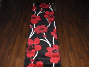 Modern Runner 60x220cm Aprox 8ft Hand Carved Super Quality poppy Black/Red Rugs